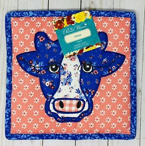 The Pioneer Woman Large 10 X 10 Quilted Trivet Blue Cow Country Chic Design New