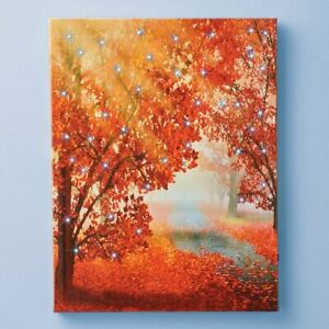 Color-Changing Fiber Optic Autumn Trees Thanksgiving Home Wall Canvas