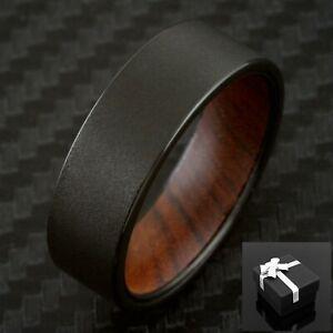 8mm Black Sand-Blast Finish Tungsten w/ Ironwood Inner Band Men's Wedding Ring