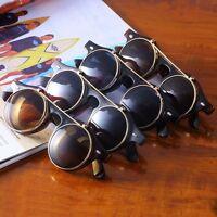 Steampunk Goth Goggles Glasses Retro Flip Up Round Sunglasses Vintage Black LS