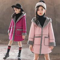 Kids Girl Warm Long Trench Coat Parka Dress Winter Jacket Overcoat Outwear 3-12Y