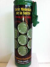 7 LUCKY COINS PREPARED 7 DAY SCENTED GREEN CANDLE IN GLASS (7 MONEDAS LA SUERTE)