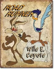 Roadrunner & Wyle E Looney Tunes Cartoon Weathered Retro Decor Metal Tin Sign