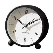 4'' Non-Ticking Quartz Battery Operated Analog Alarm Clock Nightlight Black