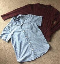 RS Next Burgundy Red Knitted Jumper & GAP Kids Shark Denim Shirt Age 8 Yrs