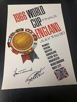 Autogramm Geoff Hurst,Hans Tilkowski,signed Plakat WC WM 1966