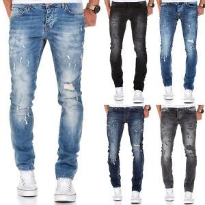 Herren Strech Destroyed Slim Fit Denim Jeans Chino Hose Schwarz/Grau/Blau 7500