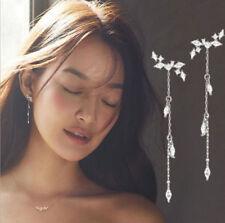 Fashion Long Korean Style Silver Plated Tassel Leaves Cubic Zircon Stud Earrings