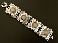 Vintage Art Deco Mexico Sterling Silver and Natural Stone Wide Link Bracelet