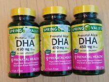 3x Spring Valley Prenatal Algal DHA 450mg 30ct Exp 11/30/2022 = 90 Total!