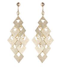 Clip On Earrings - brushed gold plated drop dangle earring - Kadin G