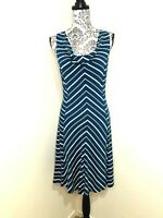 CUE KNIT Navy White Zig Zag Size Small A Line Cowl Neck Pullover Midi Dress
