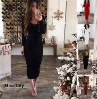 Womens Party chunky Long Dresses Outdoor Loose sexy Ladies Maxi Wrap Dresses