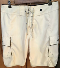 Hobie Custom Mens Size 32 Board Shorts Swim Trunks Cream Dana Point Polyester