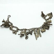 Vintage Antique Sterling Silver Charm Bracelet with 17 Charms Many Articulated