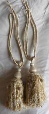 Large pair ivory cream curtain tiebacks holdbacks with tassels