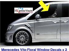 Mercedes Vito floral decals x 2 glass fit Racevan, surfvan, dayvan,minibus