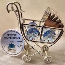 Silver Plated Ornament Christening Gift Crystal Blue Baby Boy Pram
