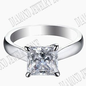 Solid 10K White Gold Prong Setting 7x7mm Flawless Cubic Zirconia Engagement Ring