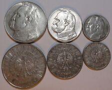 COINS SET PILSUDSKI 10 5 2 ZL ZLOTYCH POLAND 1936 1935 1934 SILVER COINS 3 PCS.