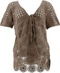 Liz Claiborne NY Hand Crochet Dolman Slv Cardigan Mocha XS NEW A264140