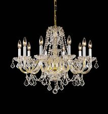 CRYSTAL,BRASS-GOLD 10 LIGHT,2-TIER,CHANDELIER,FIXTURE,DINING/LIVINGROOM,ENTRYWAY