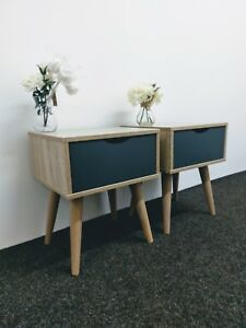 Pair Scandinavian Style Low Bedside Tables - Retro Lamp End Units  - Nordic Side
