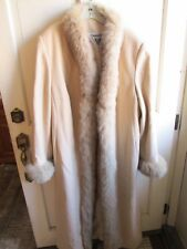 Marvin Richards Beige Full Length COAT with Fox Fur Size 10 and fur cuffs