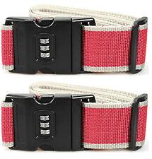 2x Koffergurt mit Zahlenschloss 2m Kofferband Sicherheitsband Gepäckband 3in1