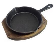 Small Round Cast Iron Hot Serving Steak Pan Skillet Platter Dish Wooden Base