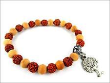 "HiJet Beautiful Tree of life Rudraksha & Tulsi Bead Stretch Bracelet 8"" Long"
