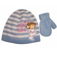 Nick Jr. Dora The Explorer Toddler Blue Knit Beanie Hat & Mittens Set Sz. 2-4T