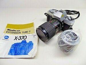 Minolta X-370 35mm SLR Film Camera - Black w/ MC Auto Zoom 80mm & Tube II Lens