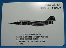 Vietnam War US Army Aircraft Visual ID Card USAF F104 Starfighter Airplane 1970