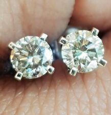 0.40cts Genuine Natural Champagne Diamond Solid White Gold Stud Earrings