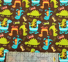 Michael Miller Dino-Dudes Dinosaurs Brown Fabric BHY