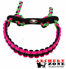 Neon Pink and Black w/ Neon Green  Bow Paracord Wrist Sling Strap  W/ Leather