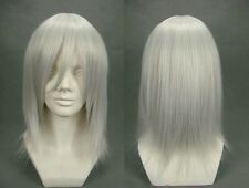 Silver White RIKU Medium Short Layered Anime Cosplay Wig