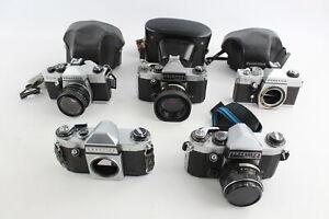5 x Praktica SLR FILM CAMERAS Inc. PLC3, Nova, Super TL & MTL50 w/ Some Lenses