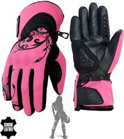 WOMENS THERMAL WATERPROOF SOFTSHELL & REAL LEATHER HARD KNUCKLE MOTORBIKE GLOVES