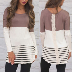 Womens Casual Long Sleeve Blouse Ladies Loose Shirt Pullover Tops Outdoor Tee