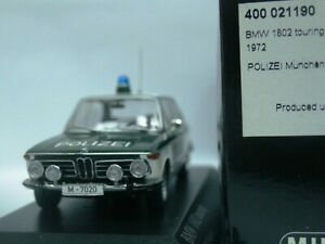 WOW EXTREMELY RARE BMW 1802 Touring E6 1972 Polizei Police 1:43 Minichamps-2002