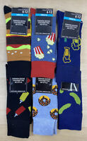 6 Pairs Men's Novelty Socks Hamburger Breakfast ketchup Beer Patterned Funny