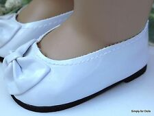"""**SALE**  WHITE Patent Leather Ballet Flats DOLL SHOES fits 18"""" AMERICAN GIRL"""