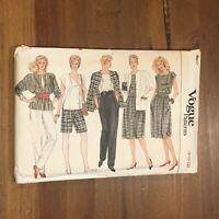 VTG Vogue Pattern 8617 Misses Jacket Skirt Pants Top Size 8 10 12 Uncut Folded a