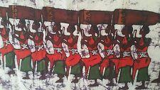 "RARE HUGE 72"" Signed Africa Wax Canvas Batik Art Painting Tribal African Artwork"
