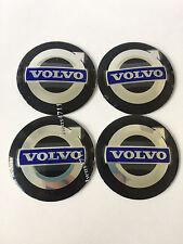 4PCS 56MM Wheel Center Hub Caps Emblem Decal Stickers for VOLVO Black/Blue 1071