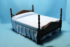 Dollhouse Miniature Double Bed in Walnut with Blue Fabric Bedding ~ CLA10755