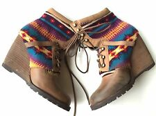 Unworn Aldo Brown Leather Bright Aztec Weave Knit Wedge Ankle Boots 38