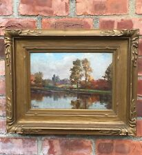 Circa 1900 Signed Oil Painting By Gaetano Capone. Bronx Park. New York City